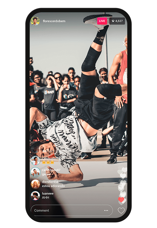 Celular transmitindo evento de dança para varias redes com doação no player
