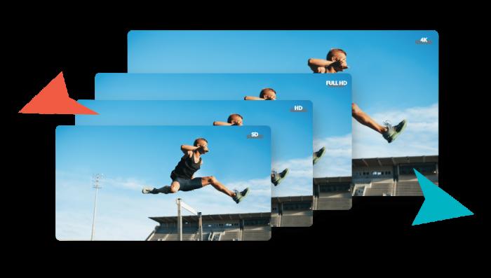 Various qualities of videos sd hd full hd 4k 360 video hosting