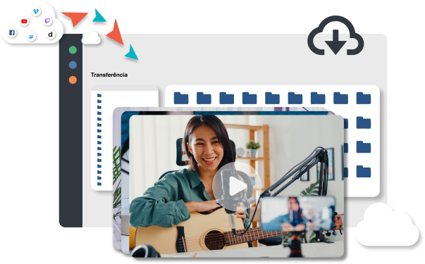 Woman recording video with microphone video hosting platform