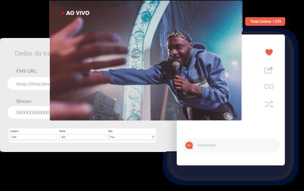 cantor-em-show-interagindo-com-publico-streaming-de-video-ao-vivo